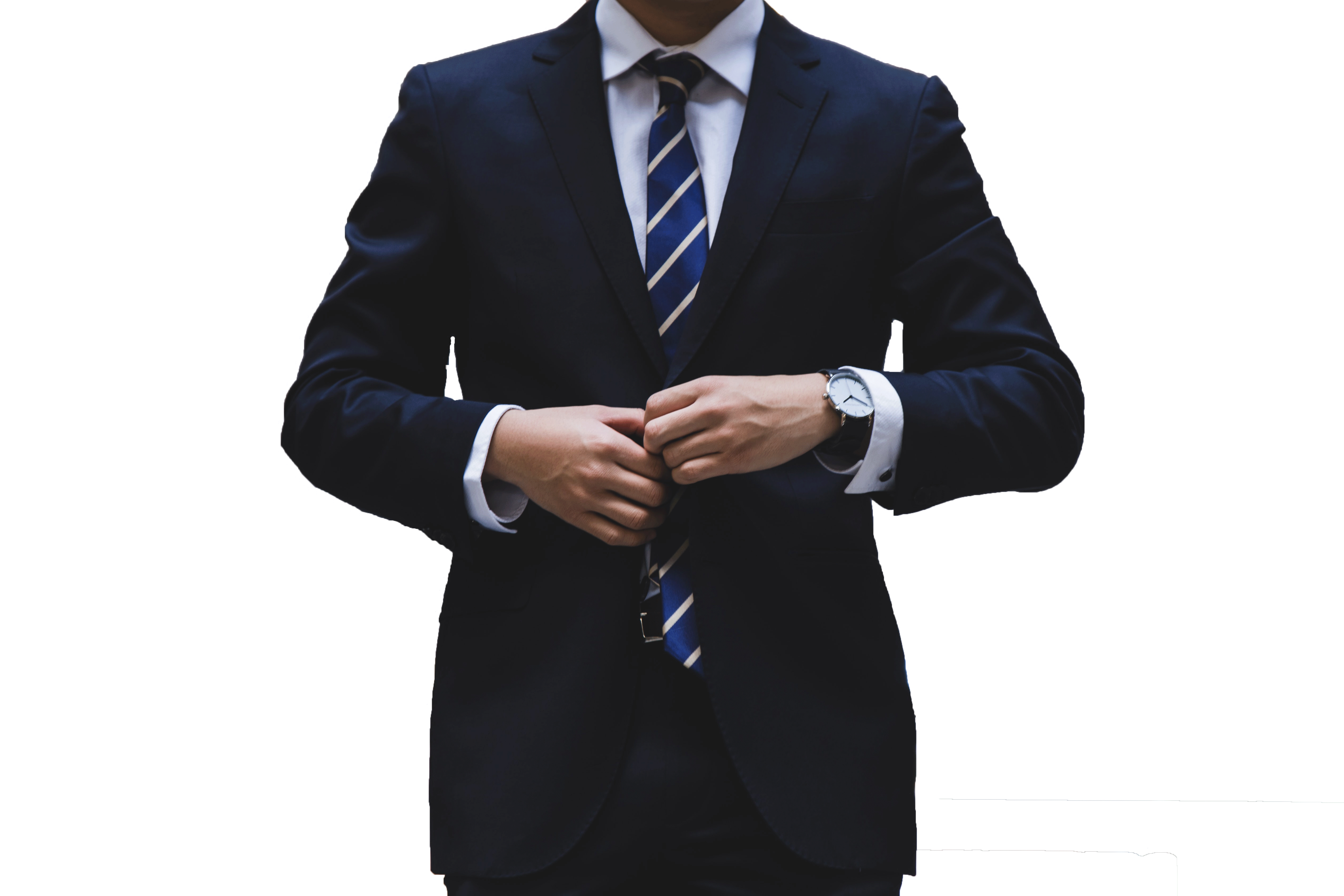 Man dress in dark navy suits and a blue tie