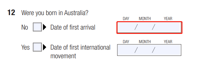 Request for International Movement Record Form Question 12