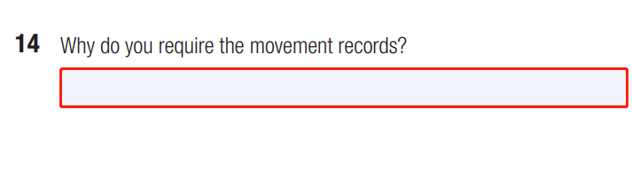 Request for International Movement Record Form Question 14